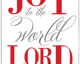 Joy to the World Christmas Print, 8x10 or 16x20, Red and Grey