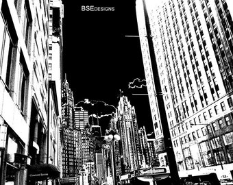 City Streets of Chitown  - Chicago Architecture - City Photograph - Black & White Print - Color Print - Original art Photography