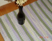 """Hand Woven Rag Rug-Loom Woven Rug-Handwoven Cotton Rug- Purple, Green, White Rug-24""""x46"""", Rug #2"""