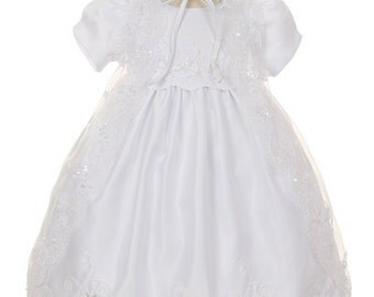 White Puff Sleeves White Toddler Dress, baptism dress, christening dress, organza dress, infant dress, flower design, dresses, girls dresses