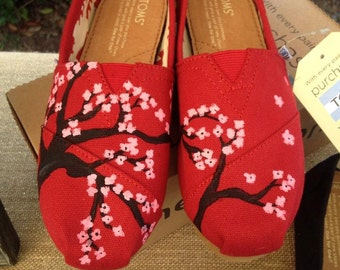 hand painted cherry blossom TOMS shoes