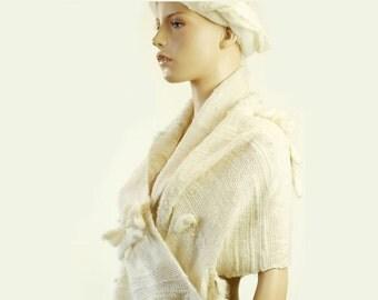 Handwoven Modernistic White Saori Art Wrap Shawl from Kid Mohair & Merino Wool * ELEGANT BASICS