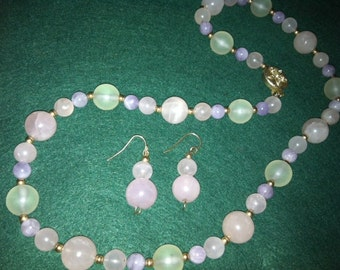 Rose Quartz Necklace, Earrings set for glamour, beauty, healing