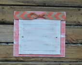 Painted Wood Frame 8x10 Chevron Burlap Bow Coral White Distressed Whitewashed Rustic Coastal Beach Cottage Decor