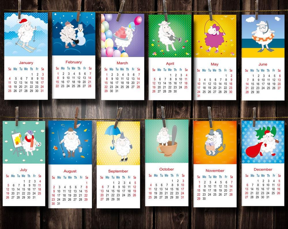 Calendar Craft 2015 : Items similar to digital printable calendar sheep