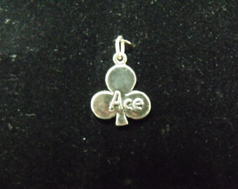 Sterling Silver Ace of Clubs Charm/Pendant  - .925  2.3 gram