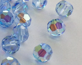 Vintage Swarovski Crystal Beads, Article 5000, 6mm Light Sapphire With Aurore Boreale Finish, 35 Vintage Crystal Beads