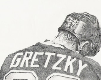 Great, Wayne Gretzky, limited edition art print artwork 8&1/2 x 11   #49/100
