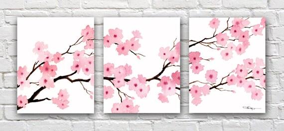 cherry blossoms set of 3 art prints triptic floral watercolor