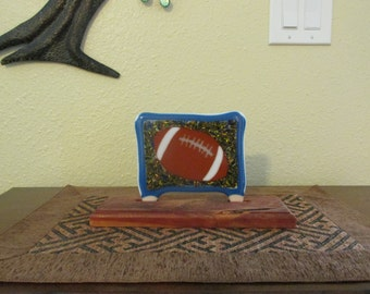 Stained Glass Tile Scene Picture Football Fused