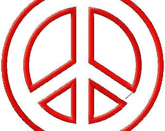 Peace Sign 2 Applique Embroidery Design