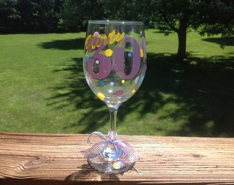 Flirty 30 Birthday Wine Glass - Choose your colors!