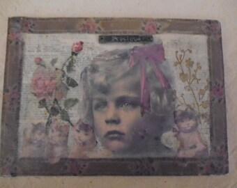 original mixed media folk art collage,vintage child,cats,kittens,ephemera,roses