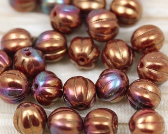 25pcs 8mm Copper Iris Melons Czech Glass Beads. Summer beads. bold natural color
