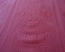 "Lee Jofa ""Devon""  Matelasse Fabric in Pink Basket Pattern"