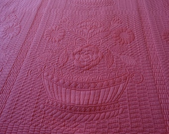 "Lee Jofa ""Devon""  Matelasse Fabric in Pink Basket Pattern"