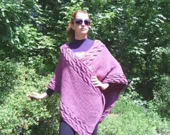 New Hand Knitted Wool Poncho,Purple,Handmade Sweater