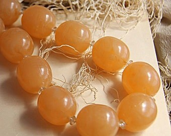 Vintage Apricot Lucite Beads on 22 inch Strand