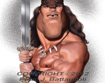 Arnold Schwarzenegger as Conan Poster Caricature Art Print Limited Edition