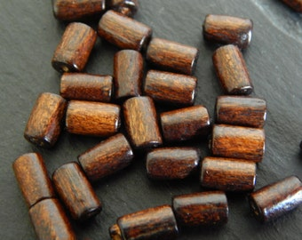 Lot 100 tube beads 8 mm Wood Brown color Coconut