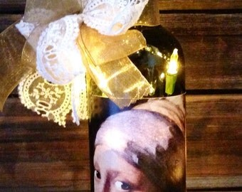 """Vermeer's """"Girl With A Pearl Earring"""" Lighted Wine Bottle"""