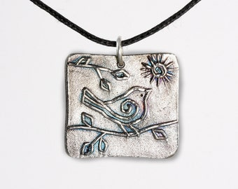 Fine Silver Bird and Sun Square Pendant