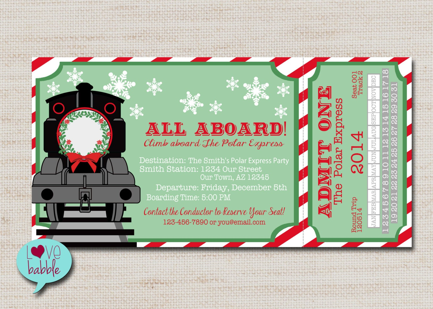 Christmas Train invitation Christmas Party invitation Train