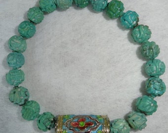 Turquoise gemstone Stretch Bracelet with email bead