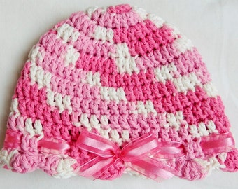 Hat with Bow and Ruffles, Girls 3-6 months, Spring, Summer, Pastel Pink and White