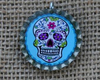 BOTTLE CAPS-Sugar Skull, Blue