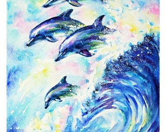 Small Mounted Print: dolphins' joy