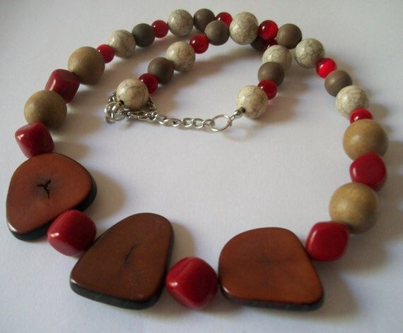 Red and Brown Beaded Necklace, Boho Style, Reclaimed Jewelry, Upcycled Jewelry, Jewelry Gift for Her, Wood Bead Necklace,  Handmade Necklace