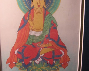 Vintage Japanese Print Silk Painting of Amidanyroyai Gautama Buddha in Reclaimed Wood Frame