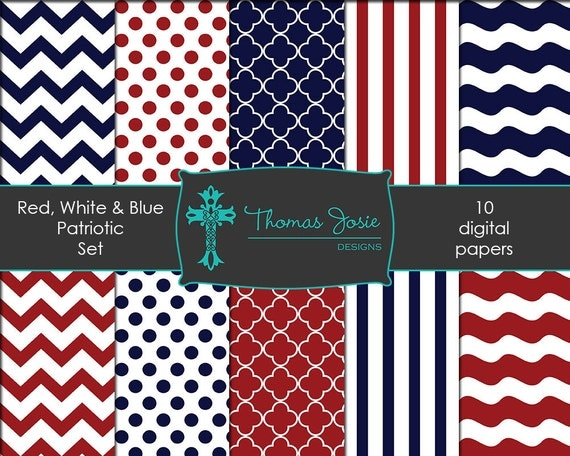Red White Navy Blue Digital Paper Nautical Paper Patriotic Paper Patriotic Party Nautical Party Chevron Paper 8.5 x 11 - Instant Download
