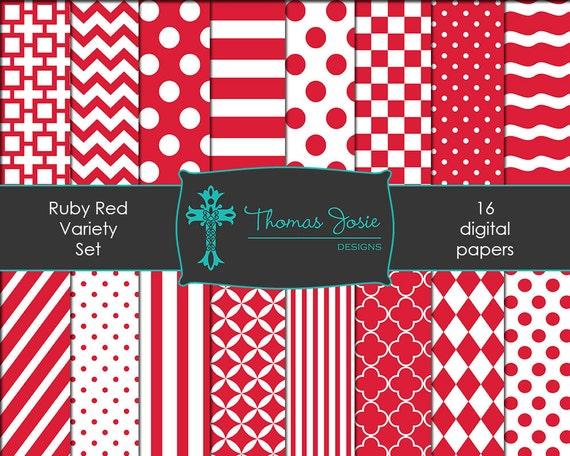 Ruby Red Digital Paper Backgrounds Striped Digital Polka Dot Digital Chevron Digital Quatrefoil Pattern Papers 8.5 x 11 - Instant Download