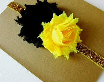 Iowa Baby Headband, Iowa Headband, Black and Gold Headband, Baby Headband, Baby Girl Headband, Gold Headband, Newborn, Infant, Toddlers