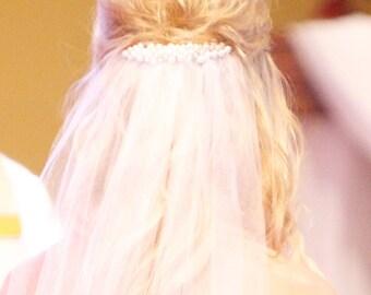 Pearl & Tulle Floor Length Wedding Veil
