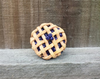 Polymer Clay Blueberry Pie Ring, Realistic Blueberry Pie Ring