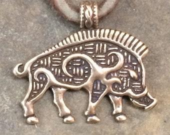 Bronze Boar Pendant