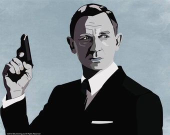 James Bond inspired, Action Movie Poster Print. Film inspired artwork designed by Cult.Graphics