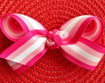 Pink and White Stripe Boutique Hair Bow