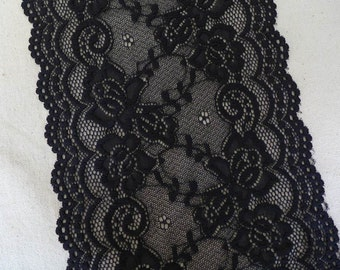 "BLACK stretch lace 7.1"" elastic scalloped edge floral lace fabric trim 1 yard"