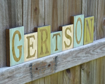 Personalized Family Name Blocks Sign, Customized Last Name Blocks, Rustic Wood Home Decor, Wedding Gift
