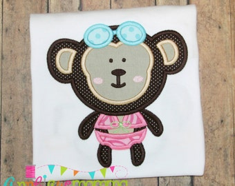 Girly Beach Monkey Applique Design