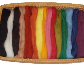 NZ Corriedale Wool Roving - 15 Nature Color Assortment
