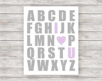 Printable Nursery Art, Lilac and Grey Baby Girl Nursery Printable Art, Girls Room Décor, Alphabet I Love You Baby Wall Art, Lavender Nursery