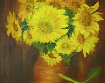 Sunflowers Oil Painting ORIGINAL still life flowers in a vase,  20*16 inches, oil on canvas Fine art gallery quality