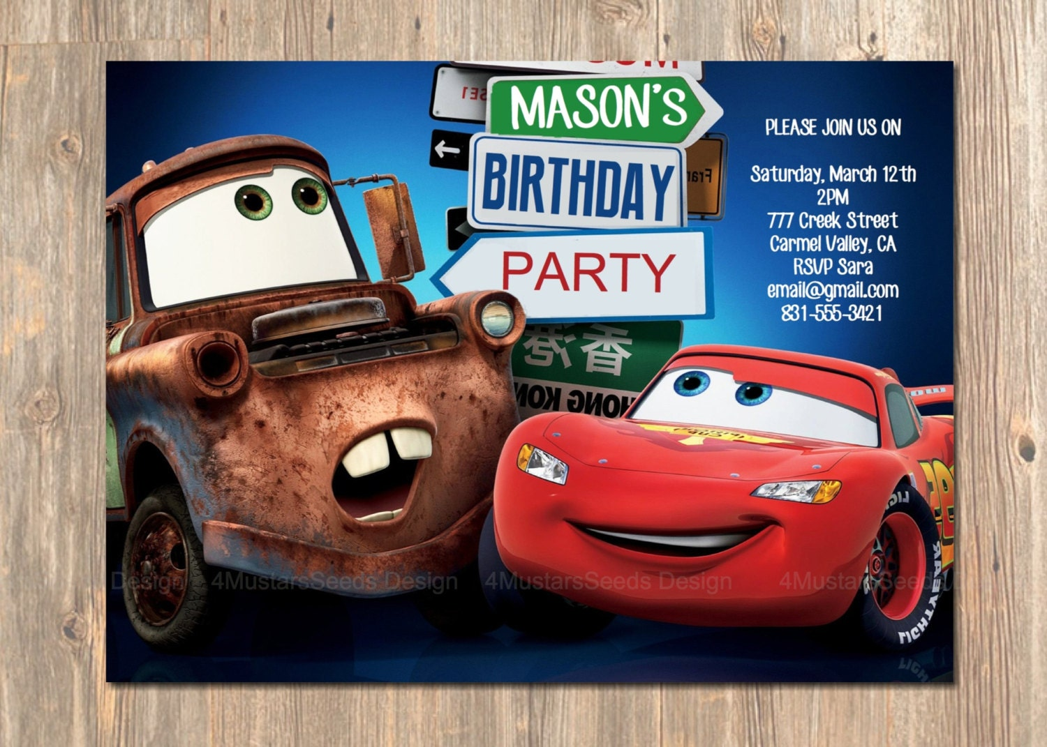 Disneys Cars Birthday Invitation Lightning McQueen and – Birthday Cards with Cars