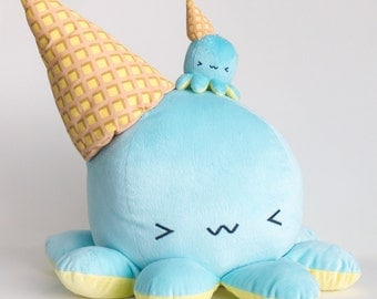 Giant Melty~ Super soft and great for hugging! The original octopus disguised as a dropped ice-cream cone!