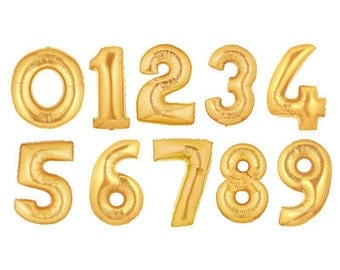 "Gold Foil Balloon, Silver Foil Number Balloon, Rose Gold Number Balloon, Jumbo 40"" Balloon, First Birthday Balloon, 40th, 60th, Sweet 16"
